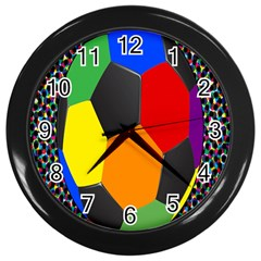 Team Soccer Coming Out Tease Ball Color Rainbow Sport Wall Clocks (black) by Mariart