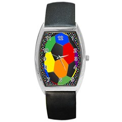 Team Soccer Coming Out Tease Ball Color Rainbow Sport Barrel Style Metal Watch by Mariart