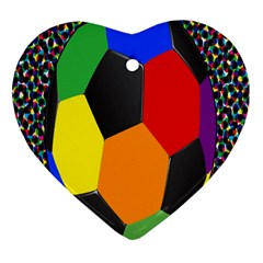 Team Soccer Coming Out Tease Ball Color Rainbow Sport Heart Ornament (two Sides) by Mariart