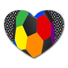 Team Soccer Coming Out Tease Ball Color Rainbow Sport Heart Mousepads by Mariart