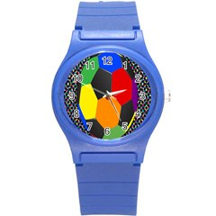 Team Soccer Coming Out Tease Ball Color Rainbow Sport Round Plastic Sport Watch (s) by Mariart