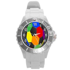Team Soccer Coming Out Tease Ball Color Rainbow Sport Round Plastic Sport Watch (l) by Mariart