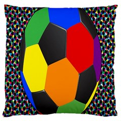 Team Soccer Coming Out Tease Ball Color Rainbow Sport Large Cushion Case (one Side) by Mariart