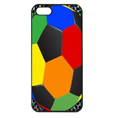 Team Soccer Coming Out Tease Ball Color Rainbow Sport Apple Iphone 5 Seamless Case (black) by Mariart
