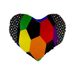 Team Soccer Coming Out Tease Ball Color Rainbow Sport Standard 16  Premium Heart Shape Cushions by Mariart