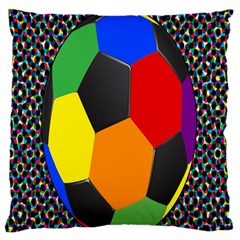 Team Soccer Coming Out Tease Ball Color Rainbow Sport Large Flano Cushion Case (one Side) by Mariart