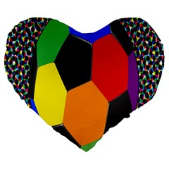 Team Soccer Coming Out Tease Ball Color Rainbow Sport Large 19  Premium Flano Heart Shape Cushions by Mariart