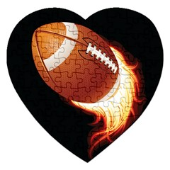 Super Football American Sport Fire Jigsaw Puzzle (heart) by Mariart