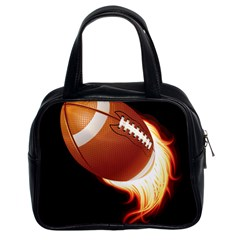 Super Football American Sport Fire Classic Handbags (2 Sides) by Mariart