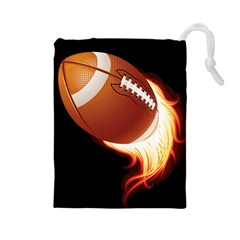 Super Football American Sport Fire Drawstring Pouches (large)  by Mariart