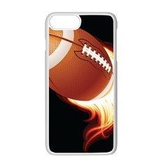 Super Football American Sport Fire Apple Iphone 7 Plus White Seamless Case by Mariart