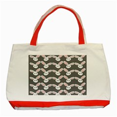 Tagged Bunny Illustrator Rabbit Animals Face Classic Tote Bag (red) by Mariart