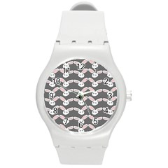 Tagged Bunny Illustrator Rabbit Animals Face Round Plastic Sport Watch (m) by Mariart