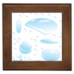 Water Drops Bubbel Rain Blue Circle Framed Tiles by Mariart