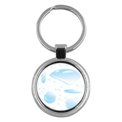 Water Drops Bubbel Rain Blue Circle Key Chains (round)  by Mariart
