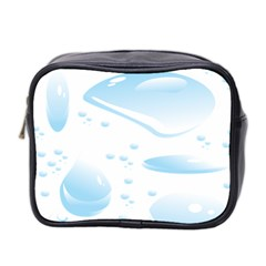 Water Drops Bubbel Rain Blue Circle Mini Toiletries Bag 2 Side