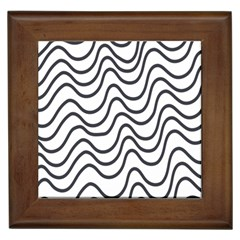 Wave Waves Chefron Line Grey White Framed Tiles by Mariart