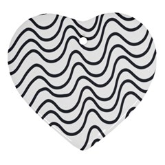 Wave Waves Chefron Line Grey White Ornament (heart)