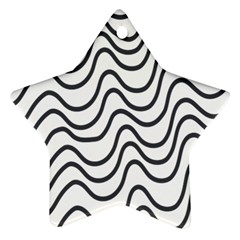 Wave Waves Chefron Line Grey White Ornament (star) by Mariart