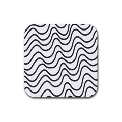 Wave Waves Chefron Line Grey White Rubber Square Coaster (4 Pack)  by Mariart