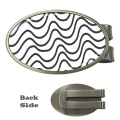 Wave Waves Chefron Line Grey White Money Clips (oval)  by Mariart