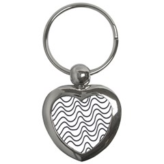 Wave Waves Chefron Line Grey White Key Chains (heart)  by Mariart