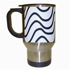 Wave Waves Chefron Line Grey White Travel Mugs (white) by Mariart