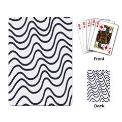 Wave Waves Chefron Line Grey White Playing Card