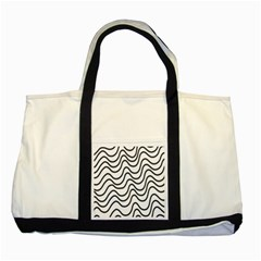 Wave Waves Chefron Line Grey White Two Tone Tote Bag by Mariart