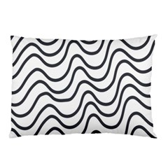 Wave Waves Chefron Line Grey White Pillow Case