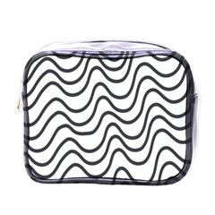 Wave Waves Chefron Line Grey White Mini Toiletries Bags by Mariart