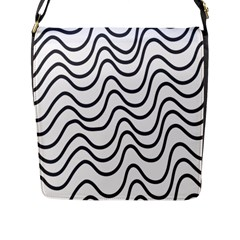 Wave Waves Chefron Line Grey White Flap Messenger Bag (l)  by Mariart