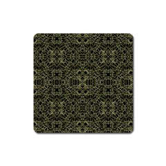Golden Geo Tribal Pattern Square Magnet by dflcprints