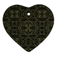 Golden Geo Tribal Pattern Heart Ornament (two Sides) by dflcprints