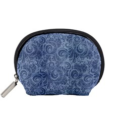 Blue Romantic Flower Pattern Denim Accessory Pouches (small)  by Ivana