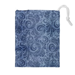 Blue Romantic Flower Pattern Denim Drawstring Pouches (extra Large)
