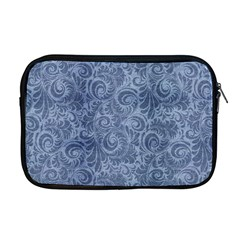 Blue Romantic Flower Pattern Denim Apple Macbook Pro 17  Zipper Case by Ivana