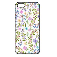 Twigs And Floral Pattern Apple Iphone 5 Seamless Case (black) by Coelfen