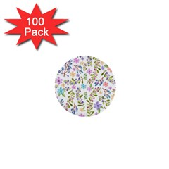 Twigs And Floral Pattern 1  Mini Buttons (100 Pack)  by Coelfen