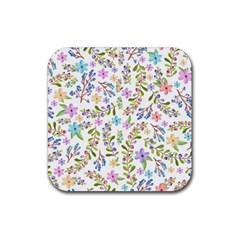 Twigs And Floral Pattern Rubber Coaster (square)  by Coelfen