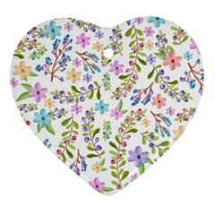 Twigs And Floral Pattern Heart Ornament (two Sides) by Coelfen