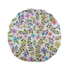 Twigs And Floral Pattern Standard 15  Premium Round Cushions