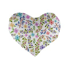 Twigs And Floral Pattern Standard 16  Premium Heart Shape Cushions
