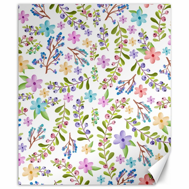 Twigs and floral pattern Canvas 8  x 10