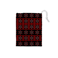 Dark Tiled Pattern Drawstring Pouches (small)  by linceazul