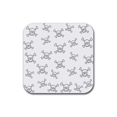 Skull Pattern Rubber Square Coaster (4 Pack)