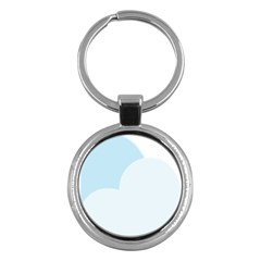 Cloud Sky Blue Decorative Symbol Key Chains (round)  by Nexatart