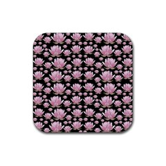 Lotus Rubber Square Coaster (4 Pack)  by ValentinaDesign