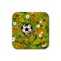 Ball On Forest Floor Rubber Coaster (square)  by linceazul
