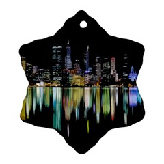 City Panorama Snowflake Ornament (two Sides) by Valentinaart